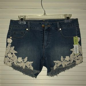 Pants - Dillard's Lace Trim Jean Shorts